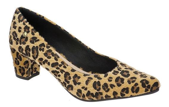 Sapato Feminino Scarpin Salto Grosso   Preto Cobra Onça  
