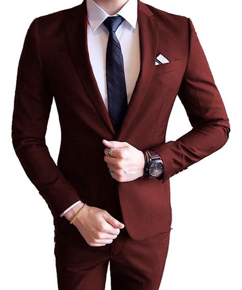 Terno Slim Masculino Oxford 2 Botoes + Sapato Social+gravata