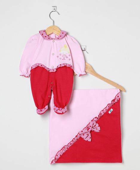 Saída Maternidade Bebê Menina Rosa E Pink