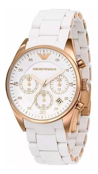 Relógio Pa445 Emporio Armani Ar5919 Rose Branco Original Top