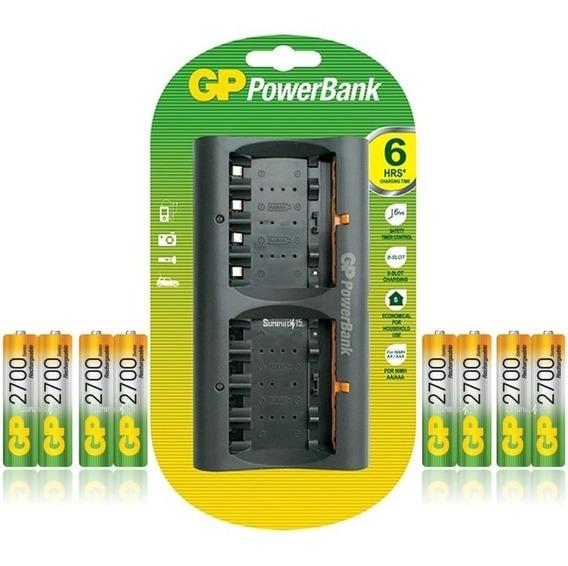 Cargador Con 8 Baterias Recargables Aa 2700mah Marca Gp