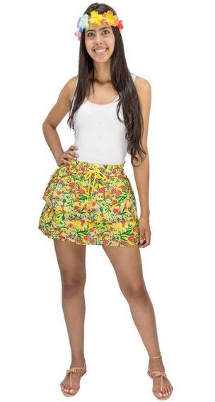 Saia Curta Rodada Feminina Estampa Floral Verde Ou Amarelo