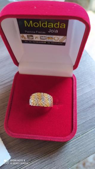 Anel Tricolor Em Ouro 18 Feminino Nu/ 19 Garantia E/bom Preç