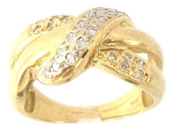 8956 Rojoias Anel Diamante De Ouro 18k Legítimo