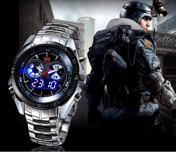 Relógio De Luxo Digital E Analógico Led Tvg Seals Elite