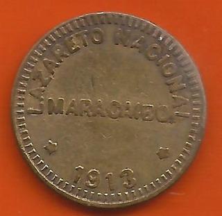 Ficha Lazareto Naciona Una Locha 1/8 Bs, 1913 Super Dificil