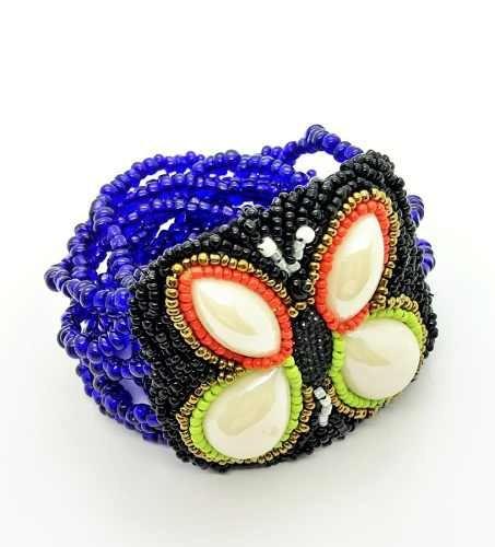 Bracelete Borboleta Mosaico Com Contas 4486 4487