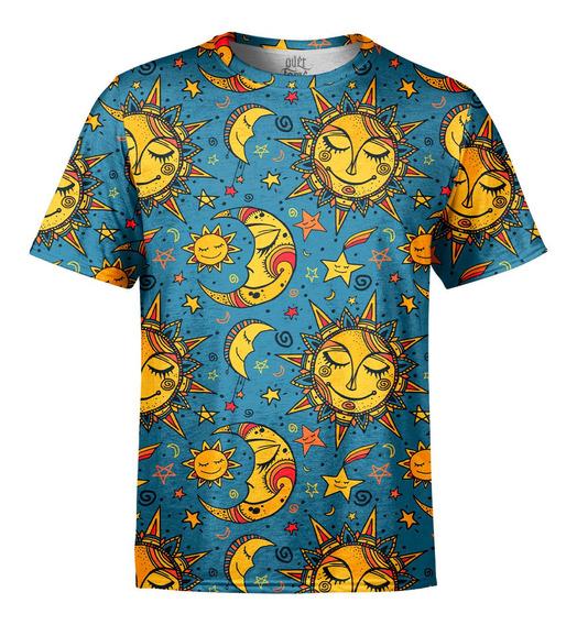 Camiseta Masculina Sol E Lua Estampa Digital