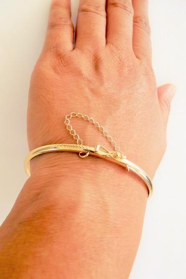 Bracelete Algema Redondo Folheado A Ouro 18k