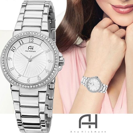 Relógio Feminino Ana Hickmann Prateado Todo Em Aço Com Strass Prova D´água Original Ah28633q