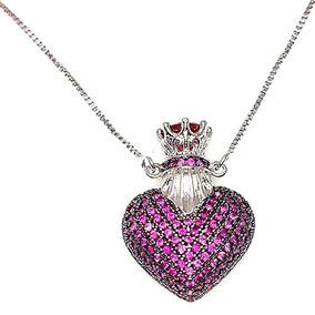 Colar Perfumeiro Coração Rosa Banhado A Prata 925 Semijoia