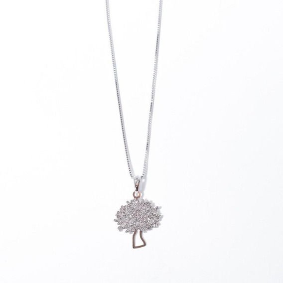 Colar Feminino Árvore Da Vida Pequeno Folheado Ródio Branco