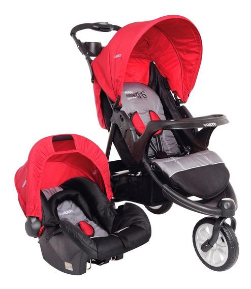 Carrinho De Bebê Triciclo + Bebê Conforto Fox Kiddo Vermelho