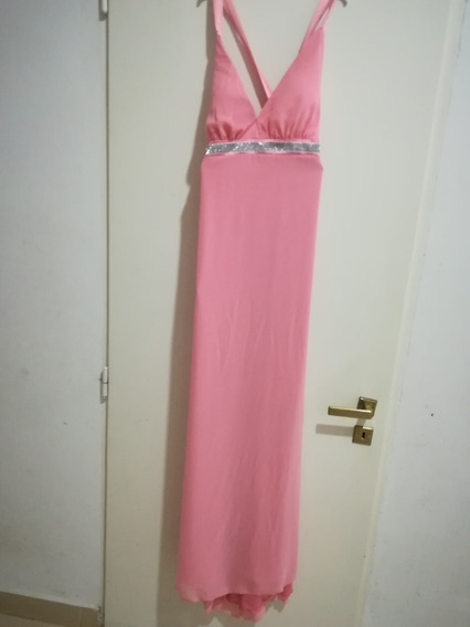 Vestido De Fiesta Talle 2 Largo Rosa Y Plata