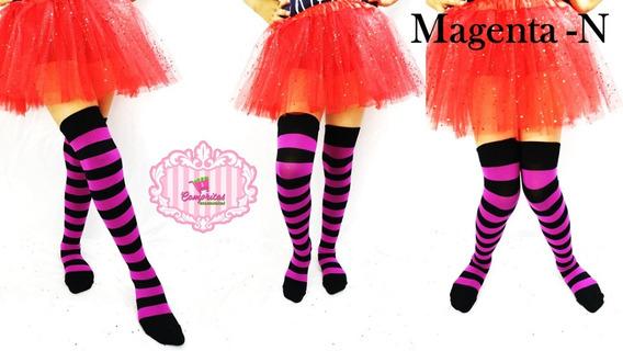 Media Calceta Over Knee Lolita Halloween Rojo/negro Caramelo