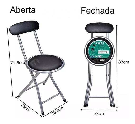 Cadeira Kit C/2 Banqueta Dobrável C/ Encosto Assento Oferta