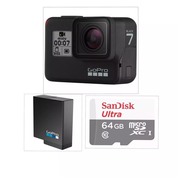 Gopro Hero 7 Black Chdhx-701 + Cartao 64gb C/10 + Bateria Or