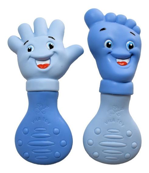 Kit Mordedor Macio Mãozinha E Pezinho Azul Mão E Pé