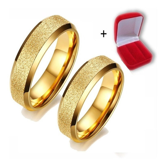 Par De Alianças Titânio Noivado Casamento Banhada 6mm