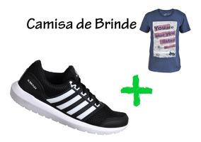 Tênis Masculino Super Leve + Brinde Camisa 100% Algodao!