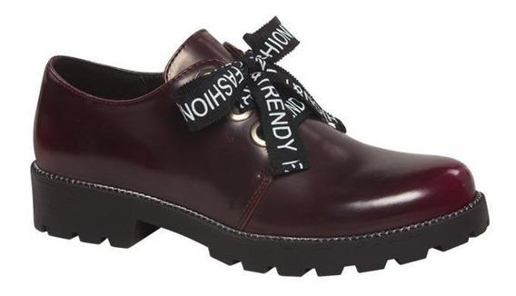 Super Clasic Zapato De Mujer Camaleon Agujetas Vino