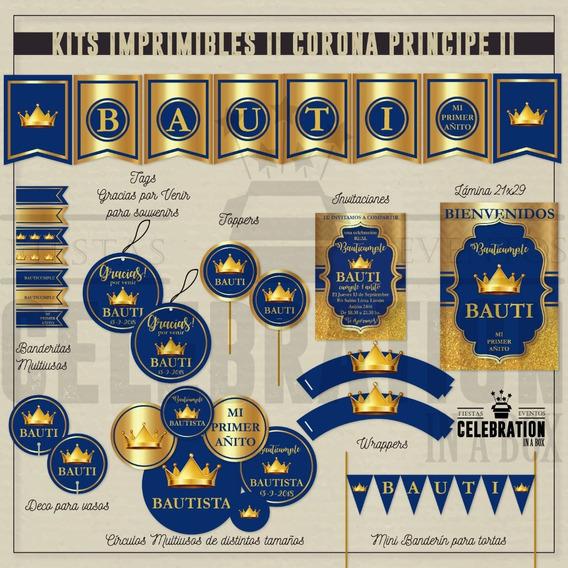 Corona Rey Principe Kit Imprimible Cumple Baby Shower Dorado