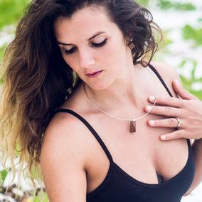 Colar Gargantilha Feminino De Prata Madeira Pirâmide Biojoia