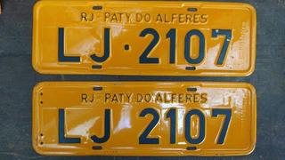 Par De Placas Antigas Rio De Janeiro Paty Do Alferes Lj 2107
