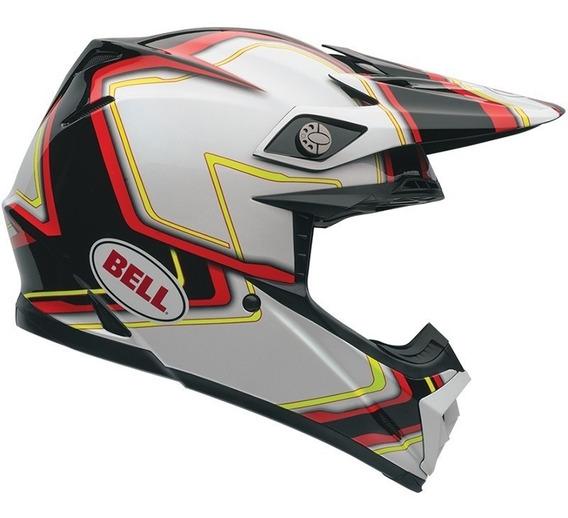 Capacete Bell Moto-9 Pace Black White Tri-composto