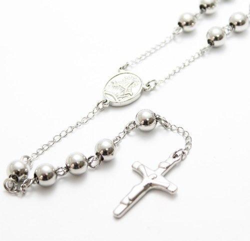 Terço Rosário Oração De Aço Cirúrgico Prata Ref01