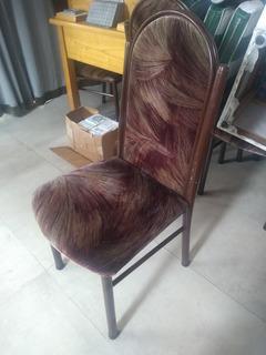 Sillas De Caño Con Tapizado De Pana Color Marrón