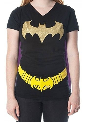 Batman Brillo Logo Juniors Vneck Negro Capa Camiseta Pequer