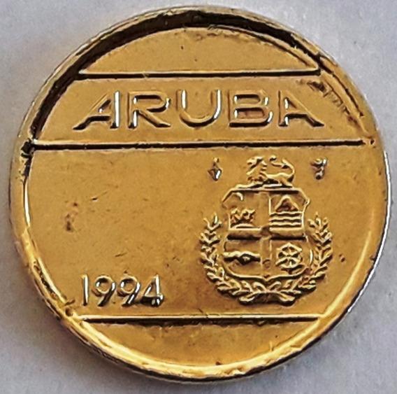 Moneda Bañada En Oro Aruba Año 1994 Con Cápsula Inversión