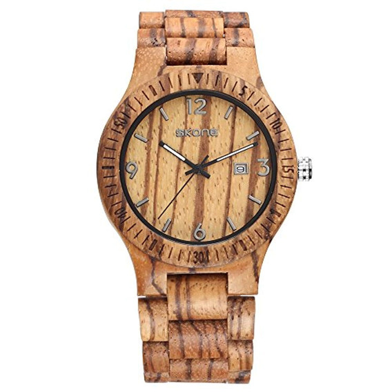 Skone Mens Date Calendar Wood Watches Reloj