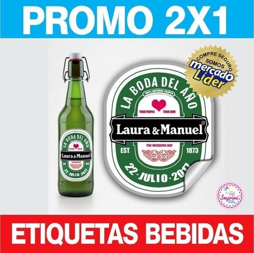 Kit Imprimible Etiquetas Bebidas Editables 2x1 Vino Cerveza