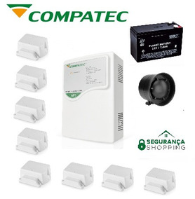 Kit Alarme Ap1 Compatec 2 Controles 8 Sensores Cabo Bateria