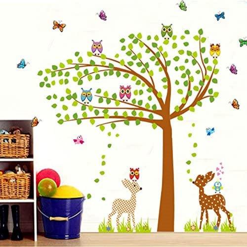 Vinilo Adhesivo Árbol Búhos Mariposas Bambi Bosque -jm7256ab