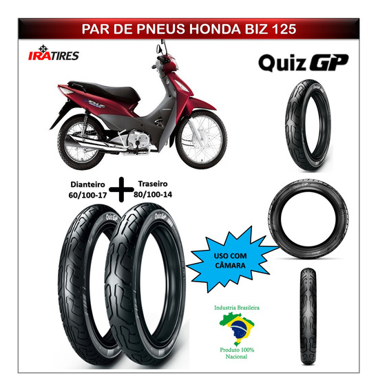 Kit Pneu Honda Biz 125 Todas Dianteiro E Traseiro