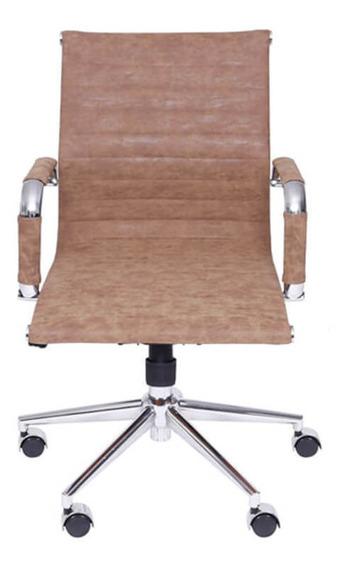 Cadeira De Escritório Baixa Retrô - Castanho - Tommy Desig