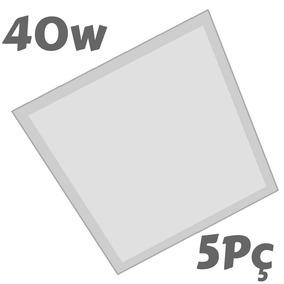 Plafon Led 40w Kit 5pç 40x40 Embutir Painel 1ª Linha Nogaled