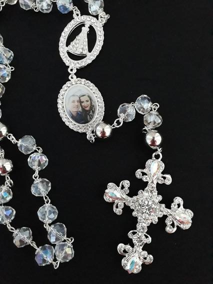 Terço Noiva Folheado, Cristal Vidro, Cruz Realeza Com Foto