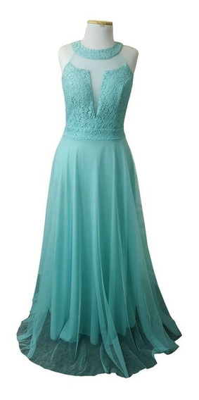 01d4be99c60b Vestido De Madrinha Verde Tiffany Renda - Vestidos Femeninos Azul ...