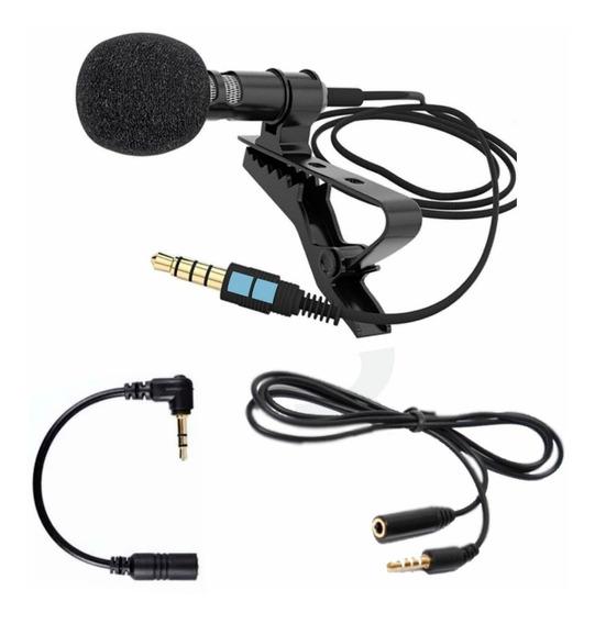 Microfone De Lapela P/ Celular Computadores Câmeras