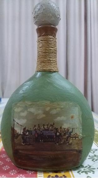 Botella Rústica Pintada A Mano Molina Campo Alto 26 Cm