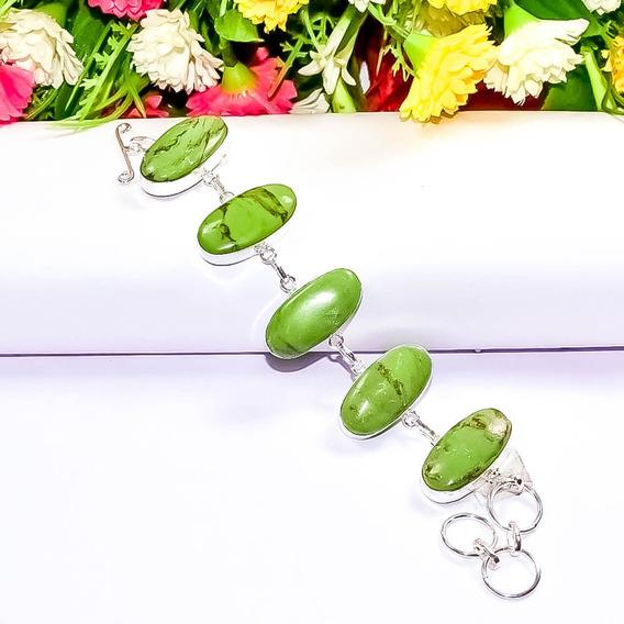 Pulseira Facetada Prateada - Pedra Verde (frete Grátis)