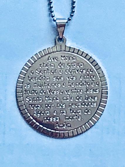 Medalha Pingente Ave Maria Com Corrente Folheada Em Prata