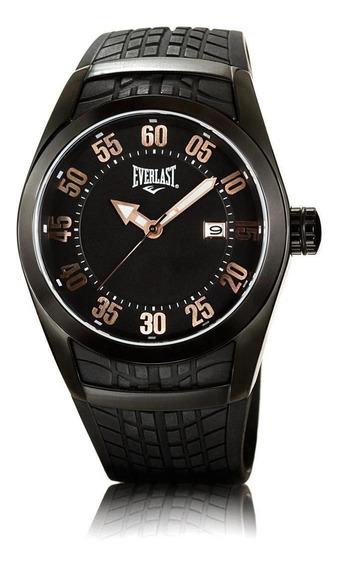 Relógio Pulso Everlast Masculino Aço Silicone Preto E197