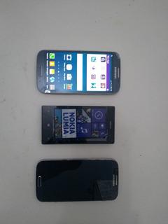 Lote Celular 2- S4 I9505 Um Tela Original E 1 Nokia Lum 520