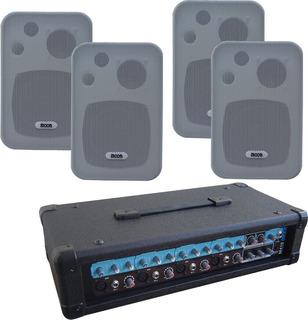 4 Bafles Pared Amplificador Moon M410 200w Musica Funcional