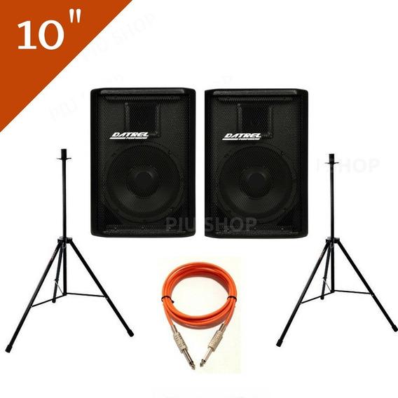 Kit Caixa De Som Ativa 400 Usb Ti + Passiva + Pedestal +cabo